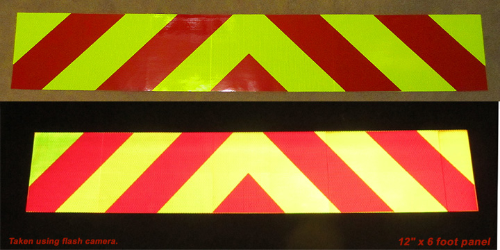 chevron reflective tailgate decal red lime